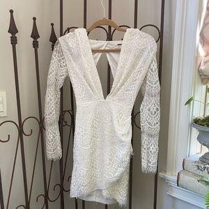 White Lace body-con, open back